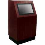 MKCS-30 Classic Style Kiosk in Light Red Walnut - Front View