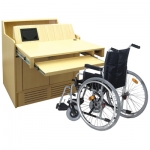 MWSR-35 Radius Style Workstation in Quartered American Ash - with Wheelchair