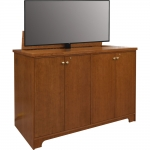 PLC-60L Cabinet in Custom Cherry - Raised View with Monitor