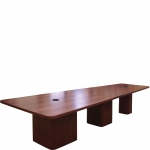 VST-36 x 60 x 144 V-Shaped Classroom Collaboration Table in Red Cherry - Side View