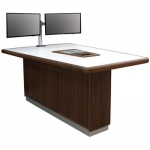 VST-40 x 60 x 90 Classroom Collaboration Table in Walnut and White Laminate - Front View