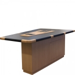 VST-42 x 60 x 90 V-Shaped Classroom Collaboration Table in Natural Recon and Black Laminate - Angle View