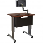 ELCO™ 35RL Compact ct Height Adjust Desk in Slate Gray Melamine & Wild Cherry Laminate - Front View - Raised Position