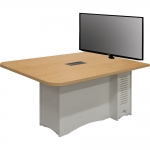 ELCO™-MCRST 42x60 Rectangle Shaped Collaboration Table with White Melamine Base & Maple Laminate Top - with Monitor