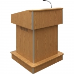 ELCO™-T32RC Traditional Style System Lectern in Oak Melamine - Front View