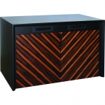 MC-47P 2 Bay Rack Credenza in Chevron Pattern Ebony & Black Cherry Veneer - Front View