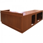 MDFP-80-120 Custom Angled Prairie Style Desk in Harvest Cherry - Front View