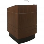 MLBD-32 Bowfront Deep Reveal Style Lectern in Custom Walnut - Front View Raised Position