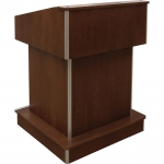 MLTR-32 Traditional Radius Style Lectern in Brown Cherry with Aluminum Radius Corners - Front View