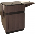 MWSRCL-25 Radius Classic Style Workstation in Valencia Teak Laminate - Front View