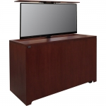 PLC-65L Prairie Style Monitor Lift Cabinet in Light Red Mahogany - Front View Raised Position