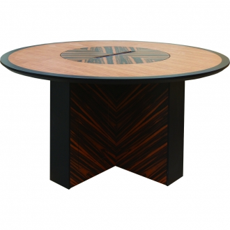 CTC-60 Custom Collaboration Table in Chevron Pattern Ebony, Quartered Mahogany and Black Cherry - Side View