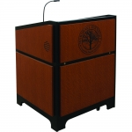 ARCO™-3230W Style Lectern with AL-KR14D Interior Configuration in Black Melamine and Custom Oak - Front View