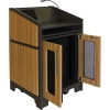 ARCO™-2525L Style Lectern with AL-KR14 Interior Configuration in Slate Gray and Nevamar Mazagran Laminate - Back Open View