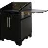 ARCO™-2525M Style Lectern in Slate Grey Melamine - Presenter Side View - Shelf Raised