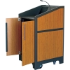 ARCO™-2525M Style Lectern with AL-R17 Interior Configuration in Slate Gray and Asian Sun Melamine - Back Open View