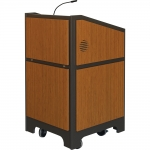 ARCO™-2525M Style Lectern with AL-R17 Interior Configuration in Slate Gray and Asian Sun Melamine - Front View