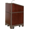 ARCO™-2525W Style Lectern with AL-KR14 Interior Configuration in Slate Gray and Classic Walnut Wood Veneer - Audience Right