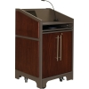 ARCO™-2525W Style Lectern with AL-KR14 Interior Configuration in Slate Gray and Classic Walnut Wood Veneer - Presenter Left Closed View
