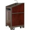 ARCO™-2525W Style Lectern with AL-KR14 Interior Configuration in Slate Gray and Classic Walnut Wood Veneer - Presenter Right Closed View