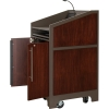 ARCO™-2525W Style Lectern with AL-KR14 Interior Configuration in Slate Gray and Classic Walnut Wood Veneer - Presenter Right Open View