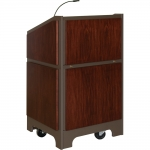 ARCO™-2525 Style Lectern with AL-KR14 Interior Configuration in Slate Gray and Classic Walnut Wood Veneer - Front View