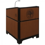 ARCO™-3230 Style Lectern with AL-KR14D Interior Configuration in Black Melamine and Custom Oak - Front View