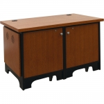 ARCO™-CR2W 2-Bay Credenza in Black and Quarter Sawn Red Oak - Front View