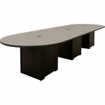 ELCO™ 12RT Racetrack Table with Grey Laminate Top and Black Melamine Bases - Side View