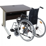 ELCO™-35RL Compact Height Adjust Desk in Cocobala Melamine - Back View - with Wheelchair