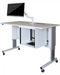 ELCO™-60RL Quick Ship, Height Adjust Wheelchair Accessible Desk in White Melamine - with Wheelchair