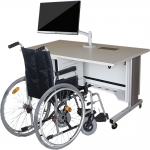 ELCO™-60RL Quick Ship, Height Adjust Wheelchair Accessible Desk in White Melamine - Back View - with Wheelchair