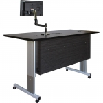 ELCO™-72RL Height Adjust Desk in Asian Night Melamine and Black Laminate - Front View