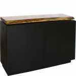 FIT™-56W Low Profile Credenza in Black Cherry with Solid Walnut Live Edge Top - Front View
