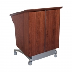 LekTek™-36W  Heigt Adjust Lectern in Classic Cherry and Silver Alu Metallix Laminate - Front View Lowered