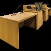 MDCD-87 Classic Style Deep Reveal Desk in Custom Rift White Oak - Back View