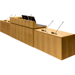 MDCD-87 Classic Style Deep Reveal Desk in Custom Rift White Oak - Front View