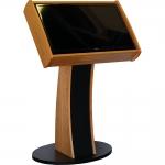 MKD-24W Informer Series Kiosk in Natural Cherry Wood Veneer - Front Angle View