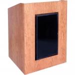 MLP-32 Prairie Style Lectern with Digital Signage Display in Brown Cherry Wood Veneer - Front View