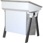 """MODi™ Style 37"""" W Custom Lectern with Aluminum Powder Coat Legs in Wilsonart Frosty White and Pionite Crackle Crunch Laminate - Front View"""
