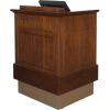 MWSP-32 Prairie Style ADA Workstation in Brown Walnut Wood Veneer with Nevamar Cocoa Bean Laminate Work Surface - Front Raised View