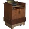 MWSP-32 Prairie Style ADA Workstation in Brown Walnut Wood Veneer with Nevamar Cocoa Bean Laminate Work Surface - Back Raised View