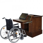 Wheelchair Accessible Lectern Workstation Wood Veneer