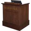 MWSP-32 Prairie Style ADA Workstation in Brown Walnut Wood Veneer with Nevamar Cocoa Bean Laminate Work Surface - Front View