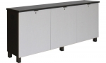 FIT™-76 Low Profile Credenza in Slate Grey and Finsa Tessuto Textured Laminate - Front View