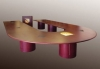 U-Shaped Video Conference Table in Classic Mahogany