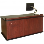SCM™-640L Desk with Height Adjust in Mahogany Melamine - Front View