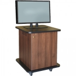 SCMR™-17 Mobile Rack and Monitor Cabinet in Walnut Melamine - Front View