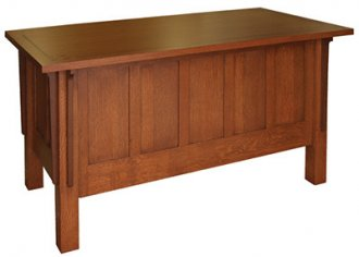 MDAC-60 Arts and Crafts Style Desk in Quarter Sawn White Oak and Walnut - Front View