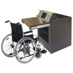 MWSP-32 Prairie Style ADA Workstation in Custom Black Rift Red Oak - with Wheelchair